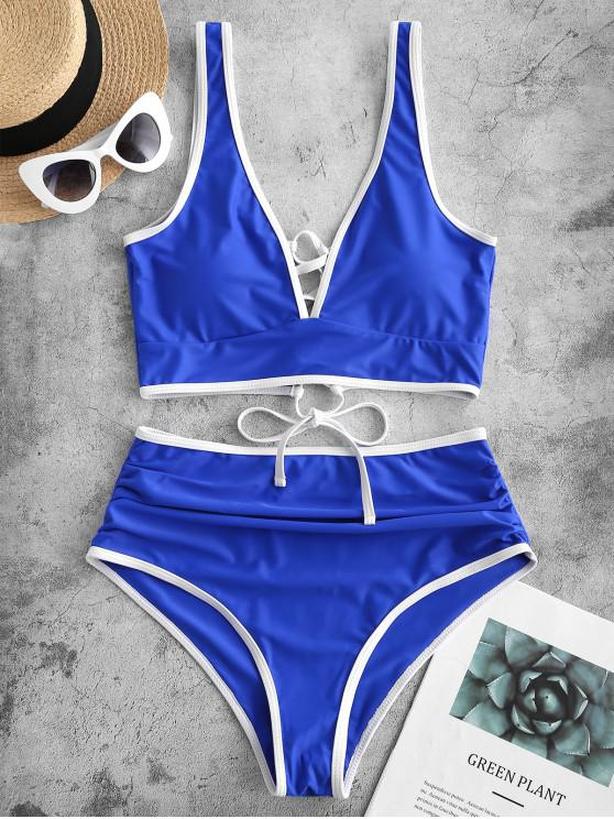 women's ZAFUL Lace Up Contrast Piping Tummy Control Tankini Swimsuit - COBALT BLUE S
