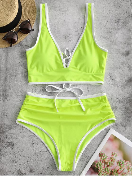 hot ZAFUL Lace Up Contrast Piping Tummy Control Tankini Swimsuit - GREEN YELLOW 2XL