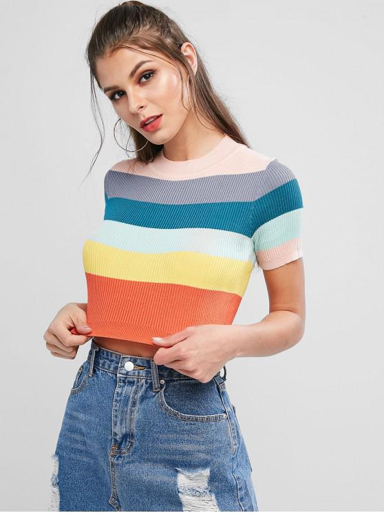 shop Knitted Rainbow Color Block Striped Tee - MULTI ONE SIZE