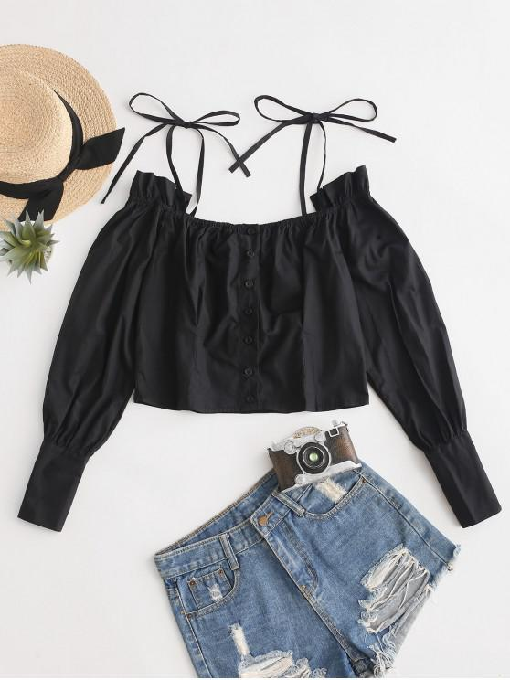 online Tie Straps Buttoned Crop Solid Blouse - BLACK M