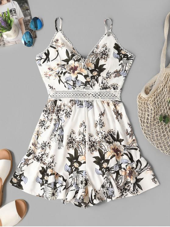 women Floral Knotted Back Wide Leg Cami Romper - WHITE S