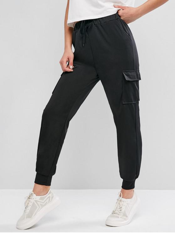 ladies Pocket Drawstring Casual Jogger Pants - BLACK M