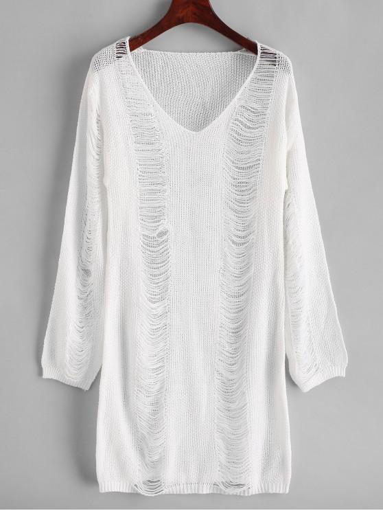 fancy V Neck Ripper Mini Sweater Dress - WHITE M