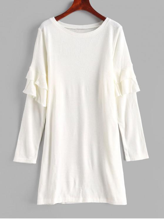 latest Tiered Ruffles Solid Color Shift Dress - WARM WHITE M