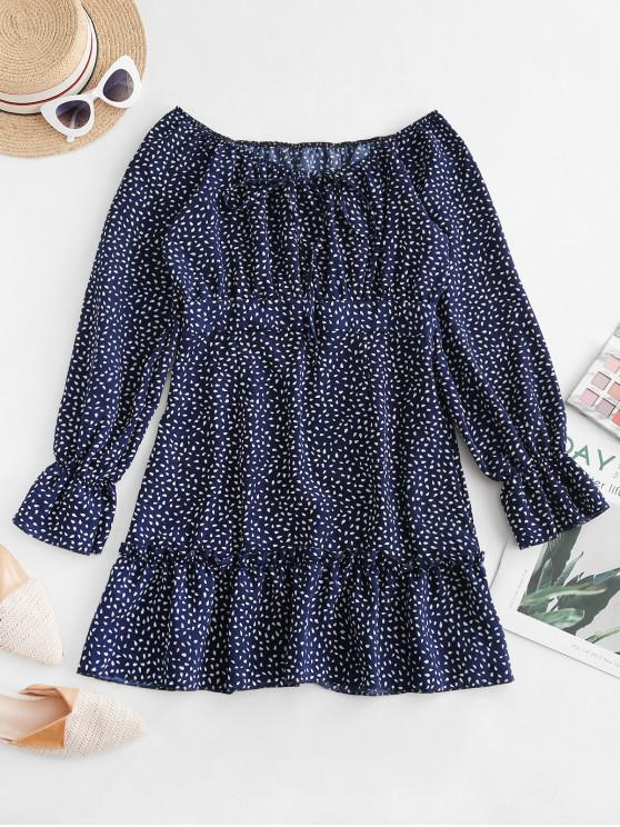 best Waterdrop Print Raglan Sleeve Flounce Hem Dress - BLUE XL