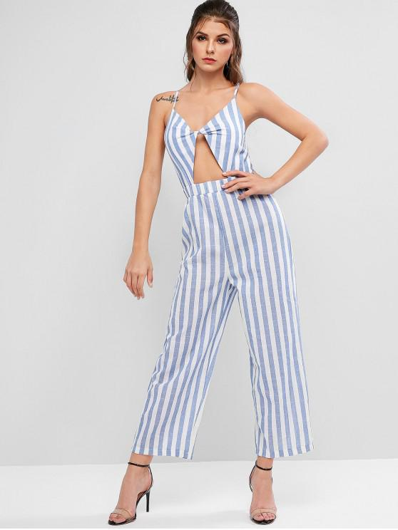online Striped Cutout Twisted Cami High Rise Jumpsuit - SEA BLUE M