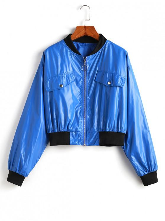 new Contrast Trim Drop Shoulder Zip Up Jacket - BLUE S
