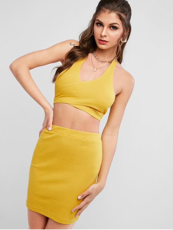 hot Cross Front Ribbed Wrap Two Piece Dress - BEE YELLOW L