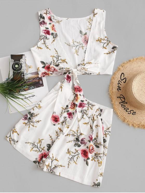 sale Floral Print Tie Front Crop Two Piece Suit - MILK WHITE S