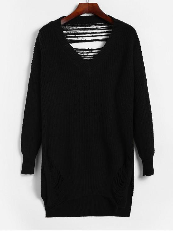 shops Destroyed V Neck High Low Slit Sweater - BLACK ONE SIZE