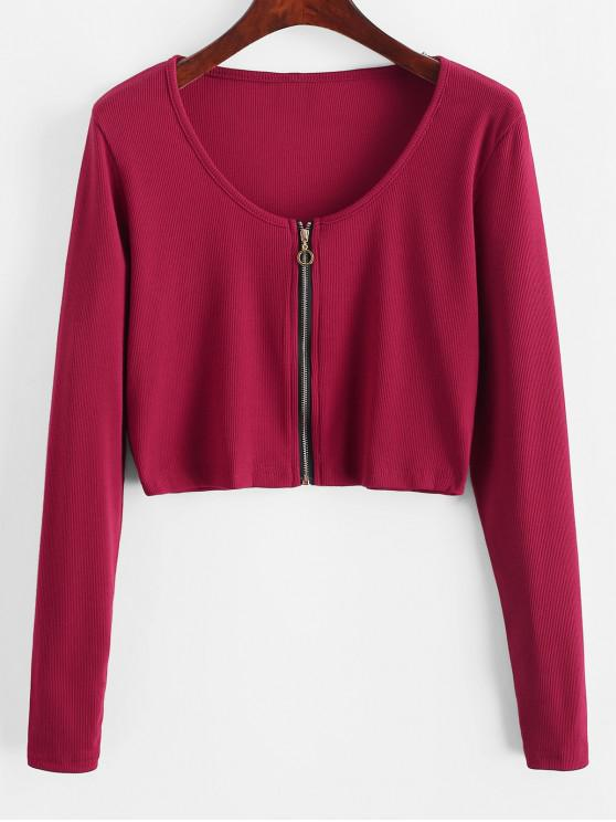 shop Ribbed Zip Long Sleeve Crop Tee - CHERRY RED S