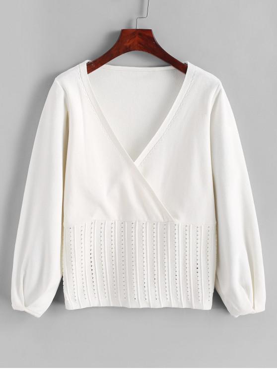 fashion Openwork Solid Surplice Sweater - WHITE S