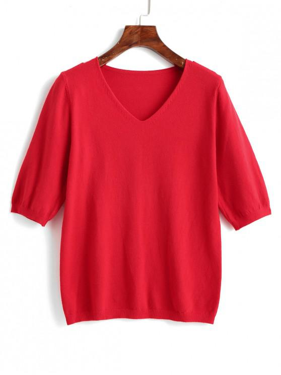 sale Half Sleeve Plain V Neck Pullover Sweater - RED ONE SIZE