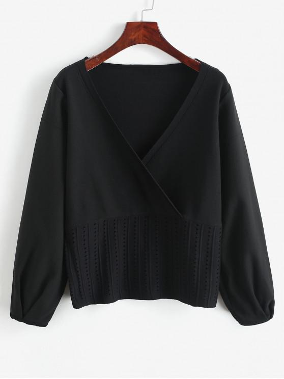 outfits Openwork Solid Surplice Sweater - BLACK S