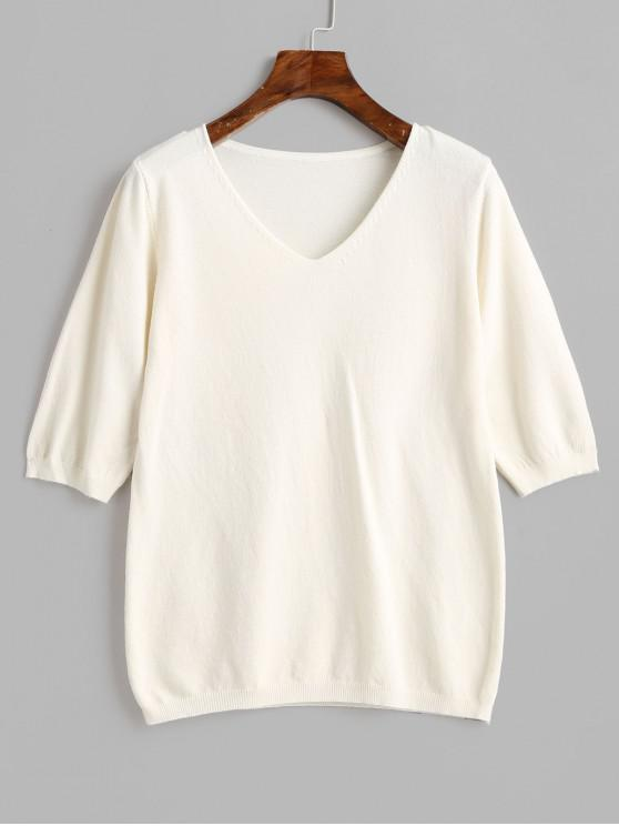 chic Half Sleeve Plain V Neck Pullover Sweater - WHITE ONE SIZE