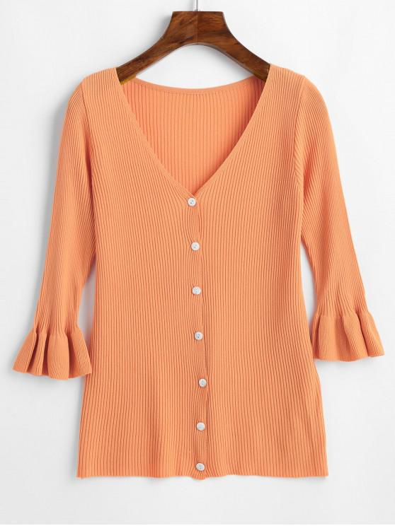 shop V Neck Button Up Ruffled Sleeve Cardigan - SANDY BROWN ONE SIZE