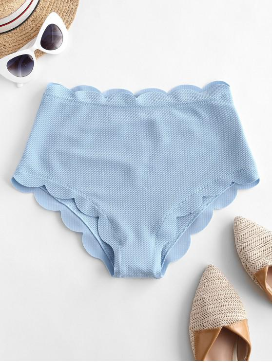 hot ZAFUL Textured Scalloped High Waisted Bikini Bottom - LIGHT BLUE M
