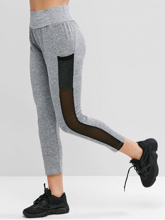 new Mesh Panel Heathered High Waist Leggings - GRAY XL