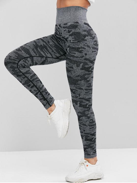 hot Camouflage High Waist Knitted Leggings - MULTI L