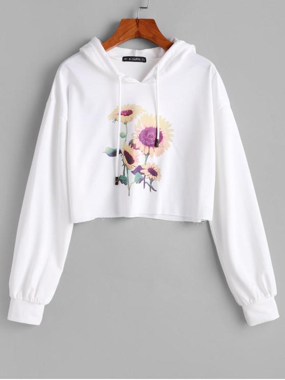 shops ZAFUL Sunflower Drop Shoulder Crop Hoodie - MILK WHITE XL