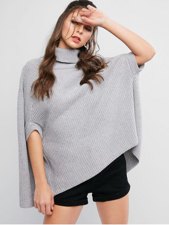 best Turtleneck Solid Cape Sweater - GRAY ONE SIZE