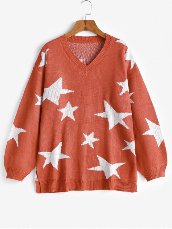 online V Neck Star Graphic Slit Sweater - ORANGE L