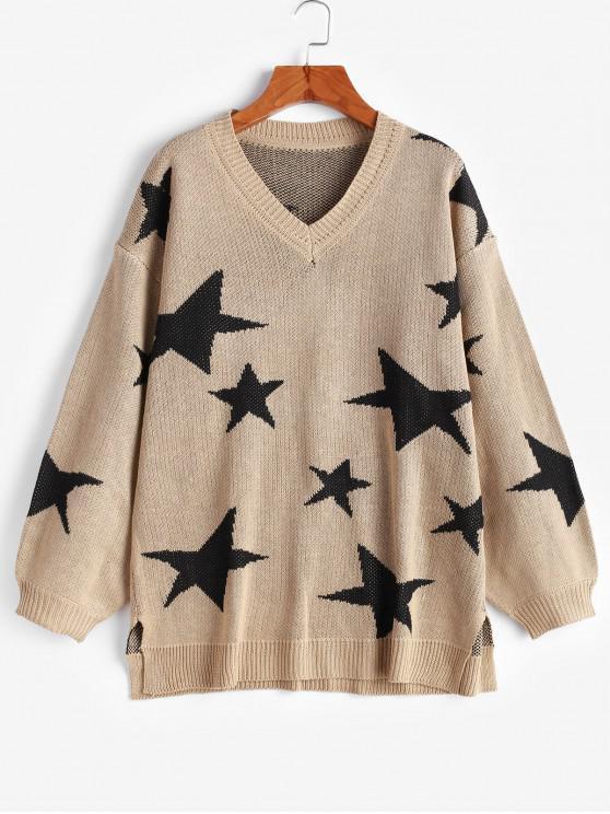 hot V Neck Star Graphic Slit Sweater - TAN S
