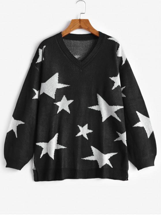 chic V Neck Star Graphic Slit Sweater - BLACK S
