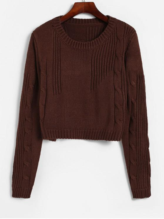 new Cable Knit Boxy Textured Crop Sweater - COFFEE ONE SIZE