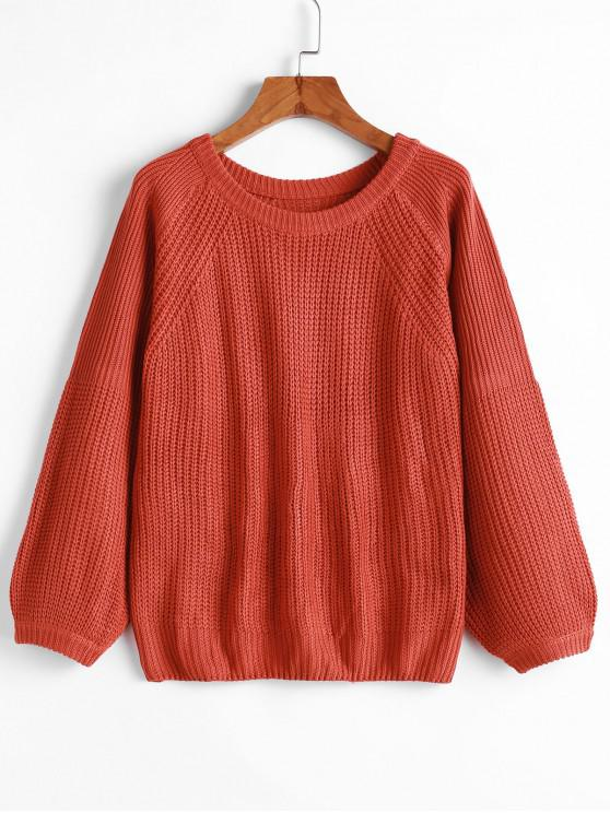 sale Pullover Raglan Sleeve Crew Neck Sweater - ORANGE S