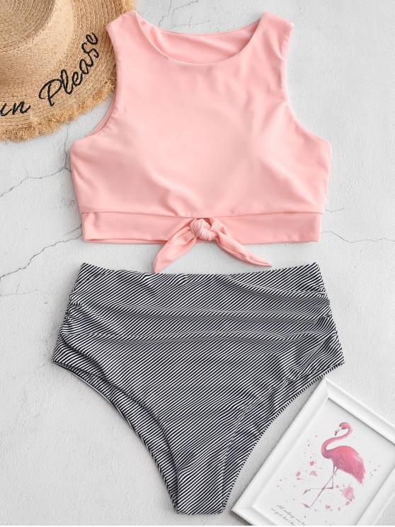 women ZAFUL Striped Knotted Ruched Tankini Swimsuit - PIG PINK L