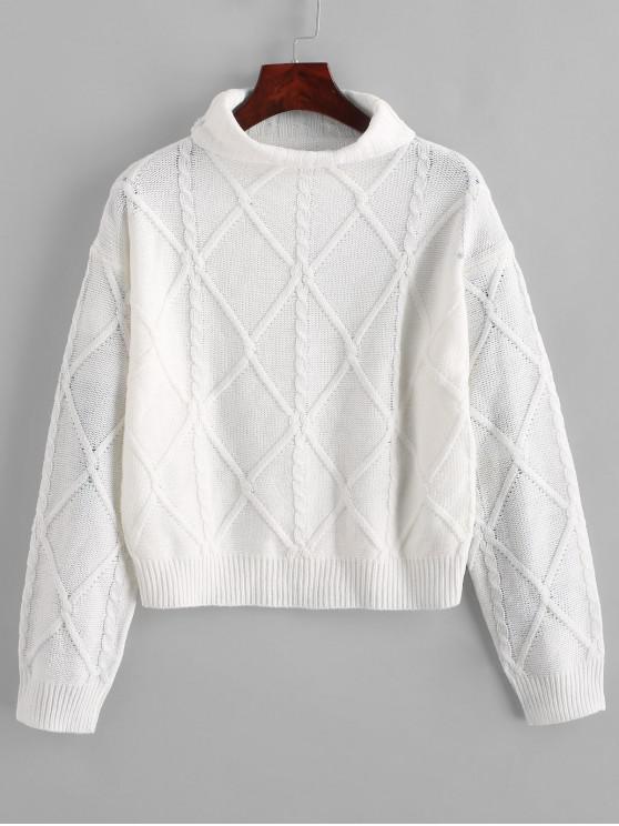 aspetto dettagliato 229de f0d05 Maglione dolcevita lavorato a maglia con trecce sulle spalle WHITE