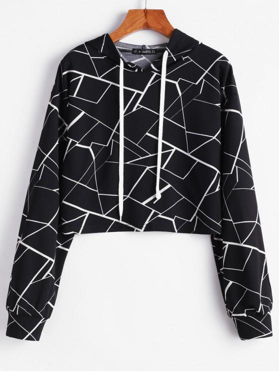 shops ZAFUL Geometric Drop Shoulder Crop Hoodie - BLACK XL