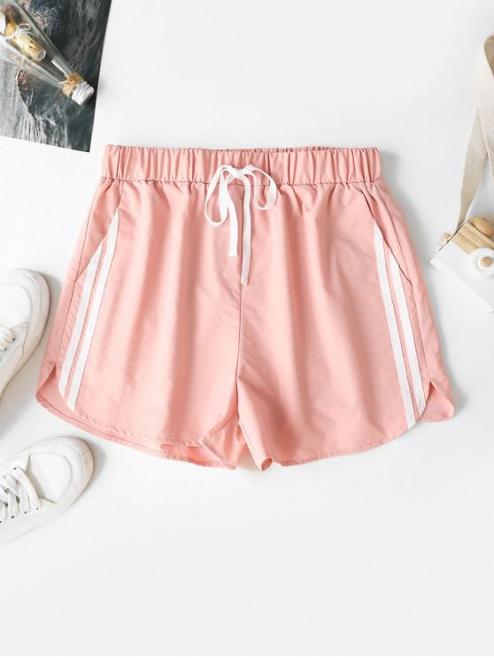 unique ZAFUL Striped-detail Drawstring Shorts - PINK M