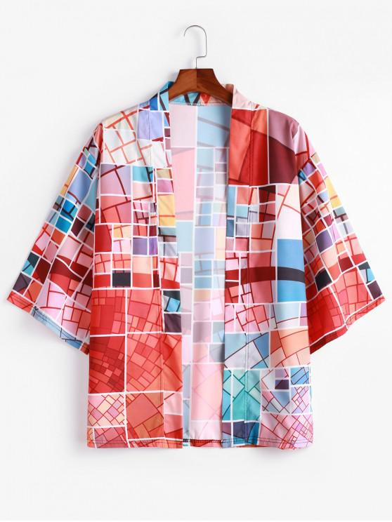ladies Colorful Geometric Graphic Print Open Front Kimono Cardigan - CHESTNUT RED M