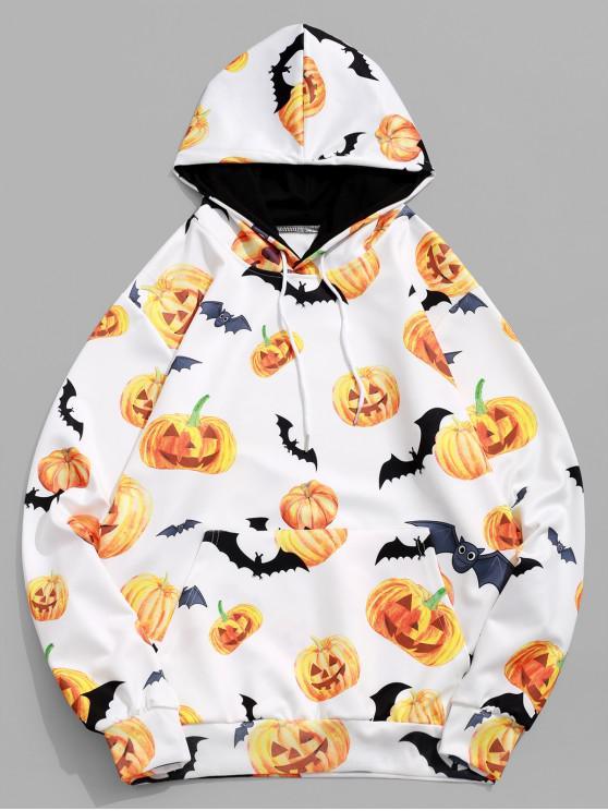 womens Halloween Pumpkin Bat Print Pullover Drawstring Hoodie - WHITE 2XL