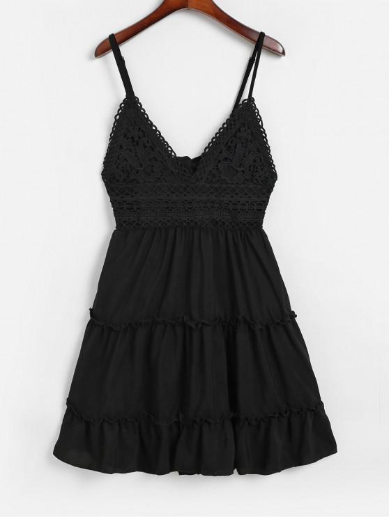 sale Knotted Back Crochet Panel Flared Cami Dress - BLACK S