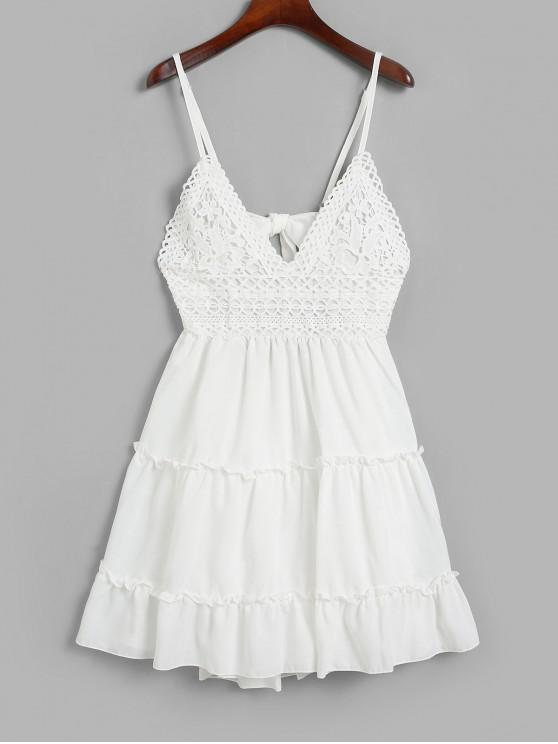 affordable Knotted Back Crochet Panel Flared Cami Dress - WHITE M
