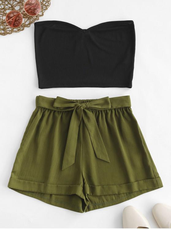 lady ZAFUL Contrast Two Piece Ribbed Knotted Bandeau Top Set - ARMY GREEN L