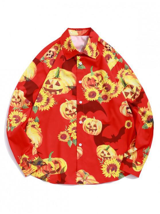 sale Halloween Sunflower Bat Pumpkin Print Button Vacation Shirt - LAVA RED L