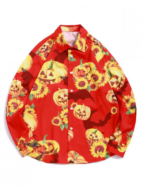 outfits Halloween Sunflower Bat Pumpkin Print Button Vacation Shirt - LAVA RED M