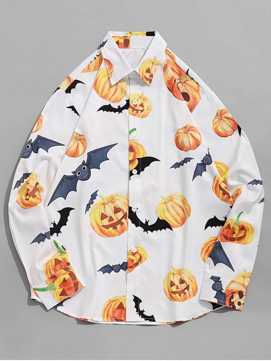 shops Halloween Bat Pumpkin Print Long Sleeve Button Shirt - WHITE 2XL