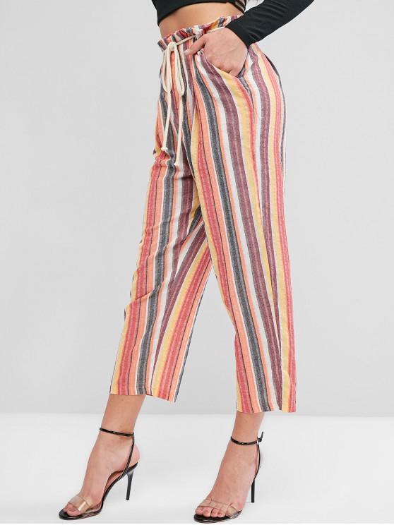 Pantalones sueltos con cinturón a rayas de contraste - Multicolor S