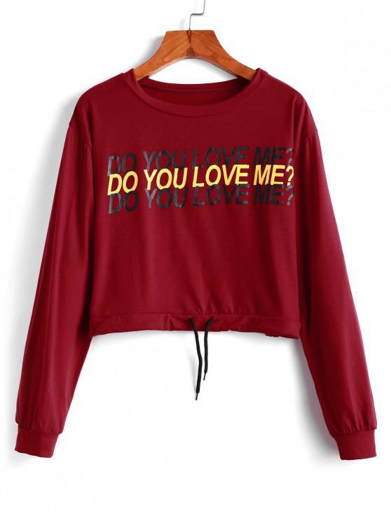womens Cropped Drawstring Slogan Graphic Sweatshirt - RED XL