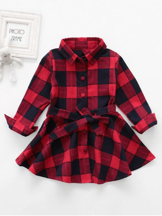 affordable Girls Plaid Print Button Up Mini A Line Dress - ROSSO RED 130