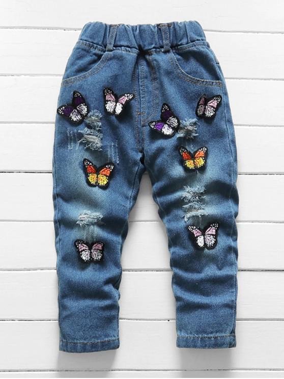 womens Girls Butterfly Applique Ripped Denim Pants - DENIM DARK BLUE 100
