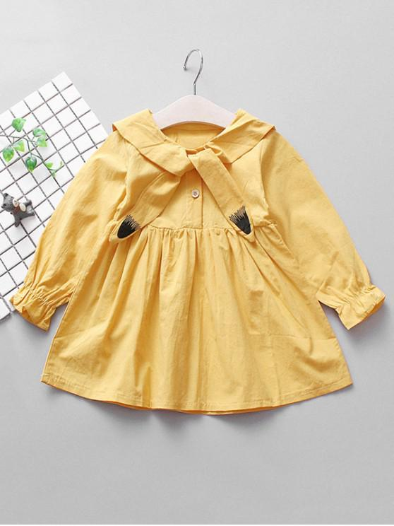 shop Girls Cat Design Poet Sleeve A Line Dress - BRIGHT YELLOW 110