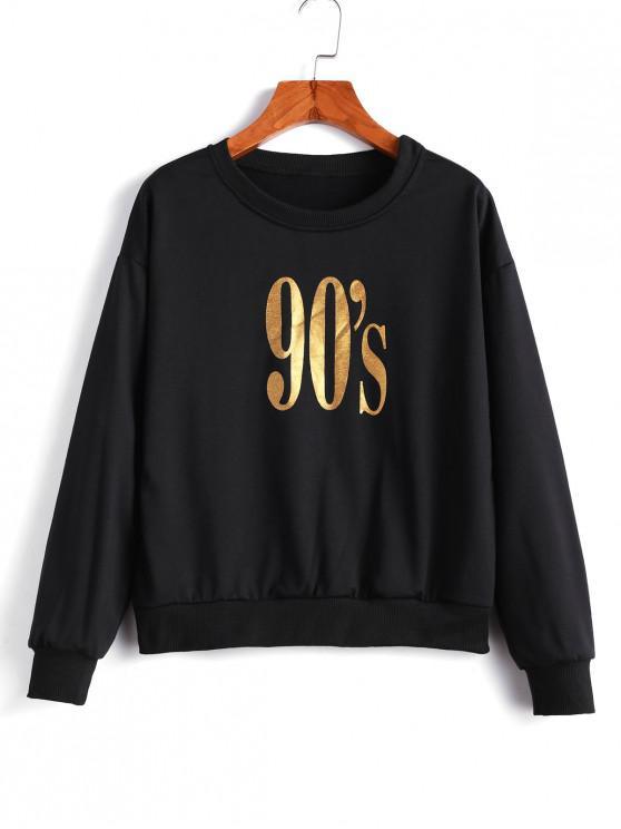 shop Pullover Drop Shoulder Gilded Graphic Sweatshirt - BLACK L