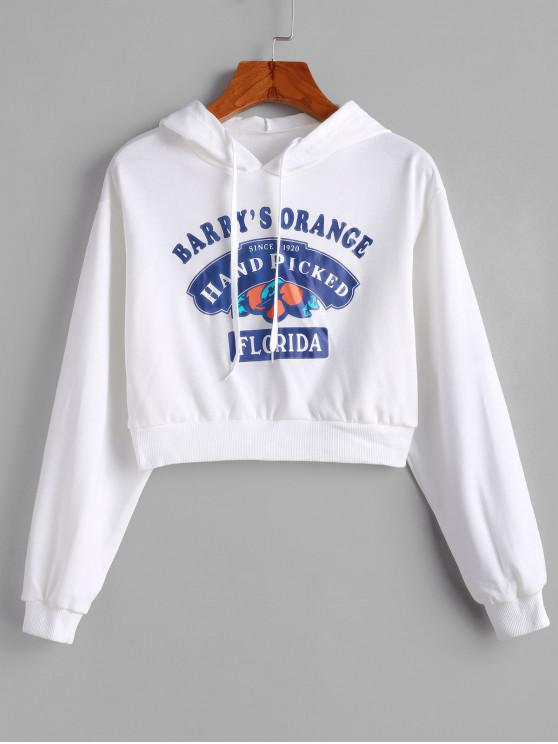 chic Drawstring Cropped Hand Picked Graphic Hoodie - WHITE XL