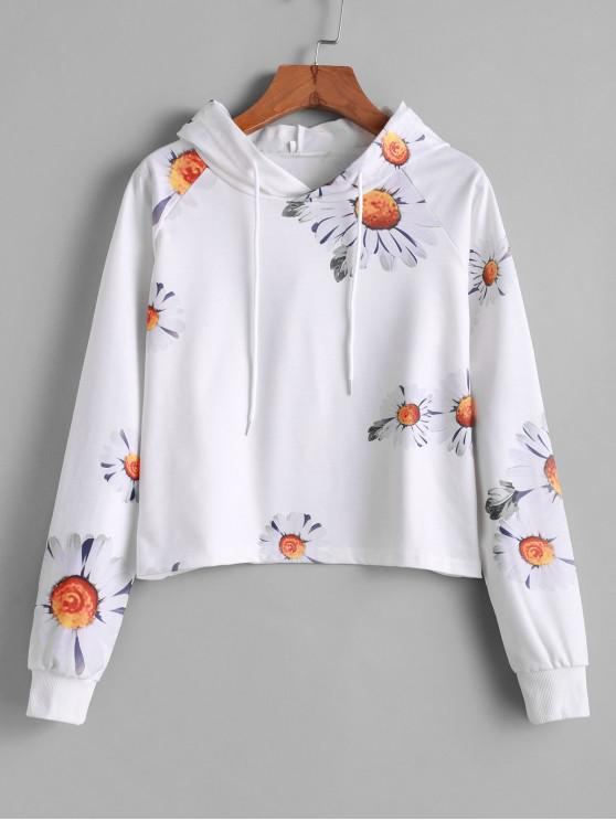 sale Drawstring Raglan Sleeve Daisy Flower Hoodie - WHITE S